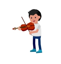 Happy kid playing on violin vector