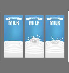 A set of labels for milk vector