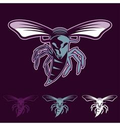 aggressive bee or wasp mascot vector image