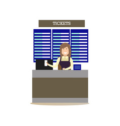 Airport ticket agent in flat vector