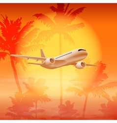 Background with palm trees and airplane in the sky vector image vector image