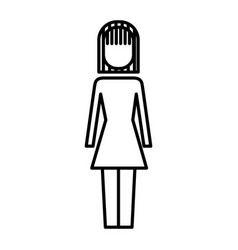 business woman standing character ico vector image