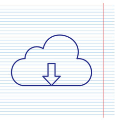 Cloud technology sign navy line icon on vector