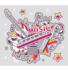 colored set of musical instruments on a g vector image vector image