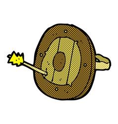 Comic cartoon shield with arrow vector