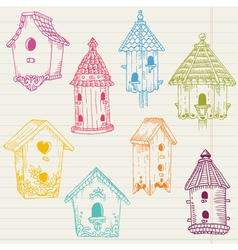 Cute Bird House Doodles vector image