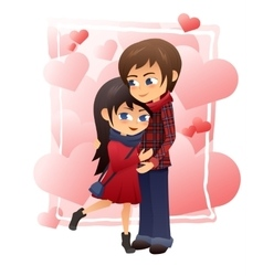 detailed flat of hugging vector image