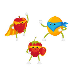 Flat fruit characters in mask set vector
