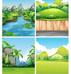 Four different nature scenes vector image vector image
