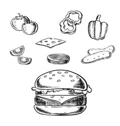 Isolated cheeseburger with fresh ingredients vector