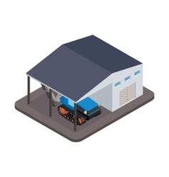 Isometric tractor for repairs at the garage vector