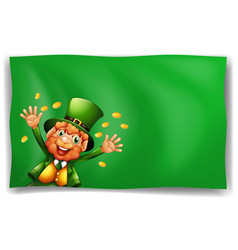 Leprechaun character on green background vector