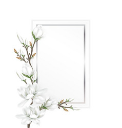 magnolia branches on paper card vector image vector image