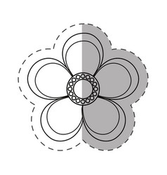 Magnolia flower decoration cut line vector
