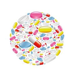 Pills and capsule in circle vector