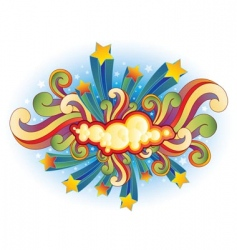 Retro shooting stars and swirls vector