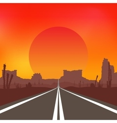 Road in the desert at sunset landscape vector
