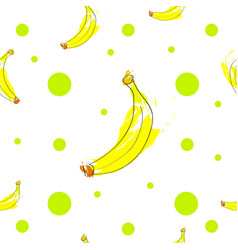 Seamless tileable texture with bananas and green p vector
