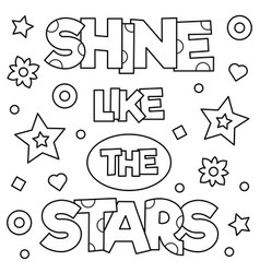 Shine like the stars coloring page vector