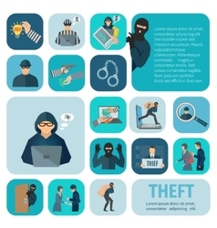 Stealing icons set vector
