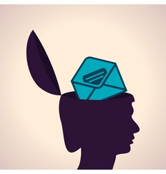 Thinking concept-Human head with envelope symbol vector image vector image