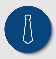 tie sign white contour icon vector image vector image