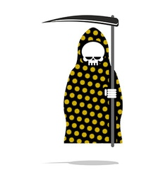 Death in black pajamas with yellow flowers grim vector
