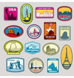 World famous monuments and landmarks labels vector