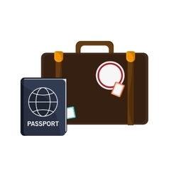 Suitcase and passport icon vector