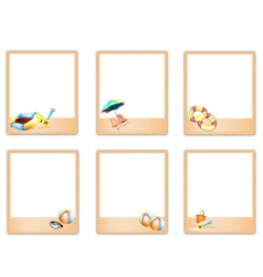 Set of blank photos with beach item pictures vector