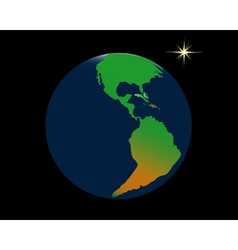 Planet Earth and a star vector image