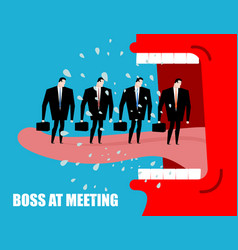 Boss at meeting scolds subordinates angry chief vector
