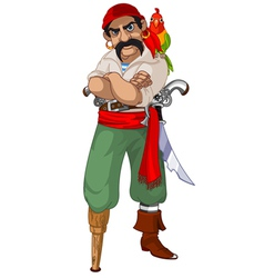 Cartoon pirate with parrot vector