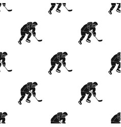 Hockey player in full gear with a stick playing vector