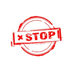 Stop rubber stamp on white vector