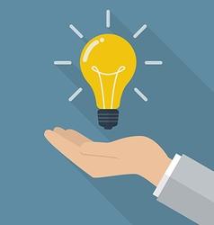 Hand holding lightbulb idea vector