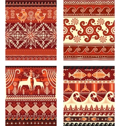 Seamless folk ornament elements texture vector