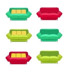 Flat sofa icons set vector