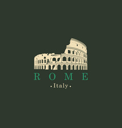 banner with ancient amphitheater coliseum in rome vector image vector image