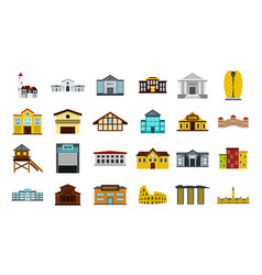 Buildings icon set flat style vector