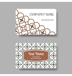 Business card set with floral chinese ornament vector image vector image