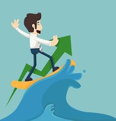 Businessman surfing on wave vector