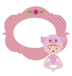 Card with baby pig vector image vector image