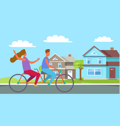 couple riding on tandem or twin bicycle cottage vector image vector image