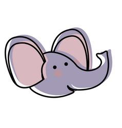 Elephant cartoon head in watercolor silhouette vector