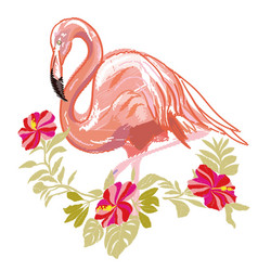 embroidery flamingo vector image vector image