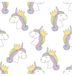 fashion seamless print pattern with unicorn vector image