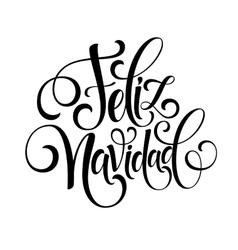 Feliz Navidad hand lettering decoration text for vector image vector image
