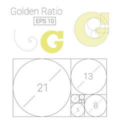 Golden ratio template logo fibonacci vector