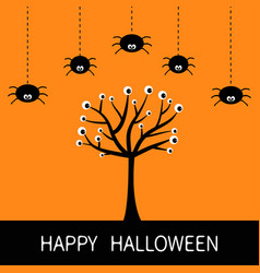 happy halloween card spider hanging dash line vector image vector image
